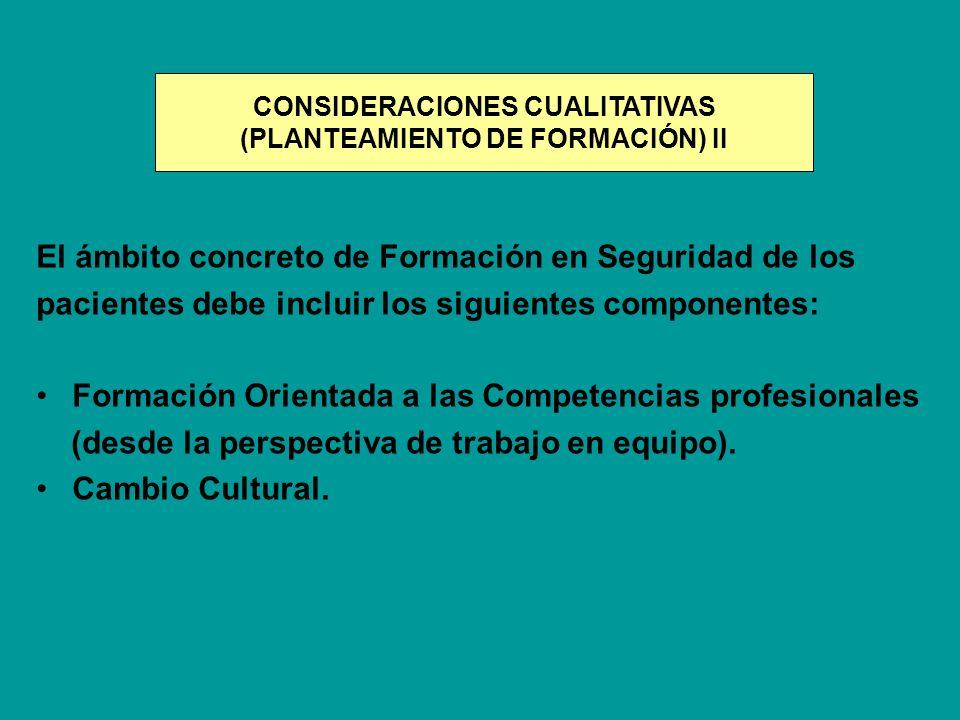 El ámbito concreto de Formación en Seguridad de los pacientes debe incluir los siguientes componentes: Formación Orientada a las Competencias profesio