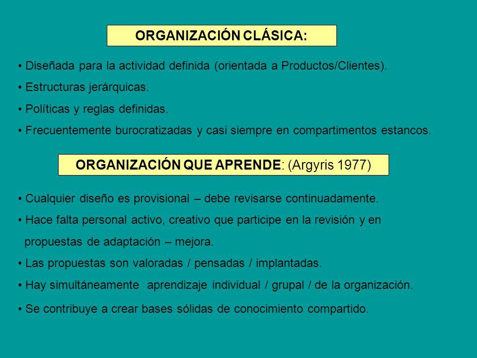 Diseñada para la actividad definida (orientada a Productos/Clientes). Estructuras jerárquicas. Políticas y reglas definidas. Frecuentemente burocratiz