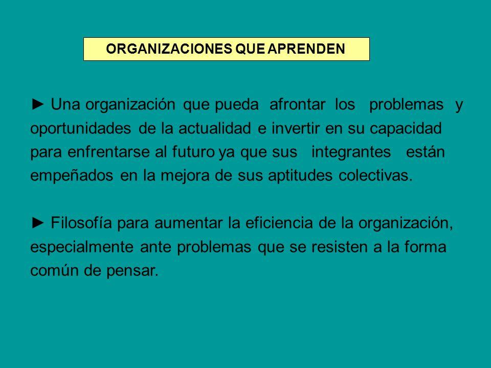 ORGANIZACIONES QUE APRENDEN Una organización que pueda afrontar los problemas y oportunidades de la actualidad e invertir en su capacidad para enfrent