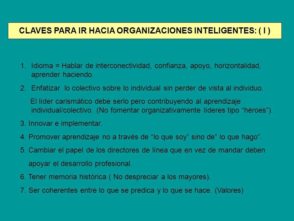 CLAVES PARA IR HACIA ORGANIZACIONES INTELIGENTES: ( I ) 1.Idioma = Hablar de interconectividad, confianza, apoyo, horizontalidad, aprender haciendo. 2