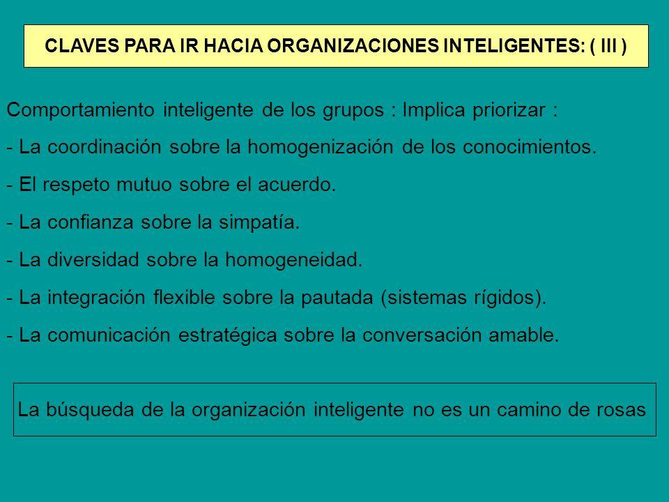 Comportamiento inteligente de los grupos : Implica priorizar : - La coordinación sobre la homogenización de los conocimientos. - El respeto mutuo sobr