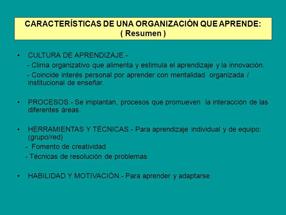 CARACTERÍSTICAS DE UNA ORGANIZACIÓN QUE APRENDE: ( Resumen ) CULTURA DE APRENDIZAJE.- - Clima organizativo que alimenta y estimula el aprendizaje y la