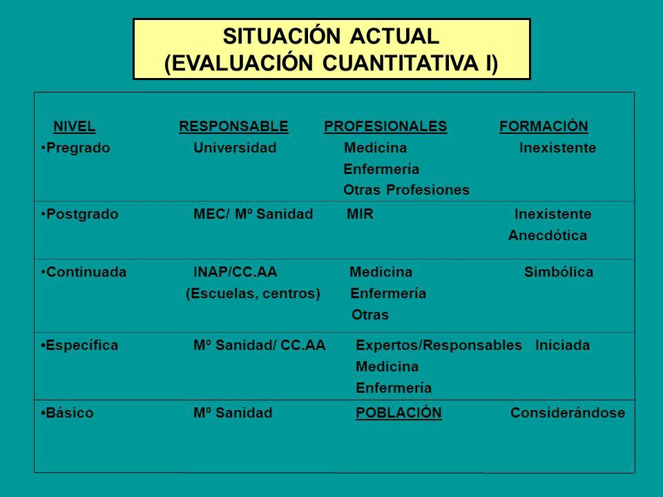NIVEL RESPONSABLE PROFESIONALES FORMACIÓN Pregrado Universidad Medicina Inexistente Enfermería Otras Profesiones Postgrado MEC/ Mº Sanidad MIR Inexist
