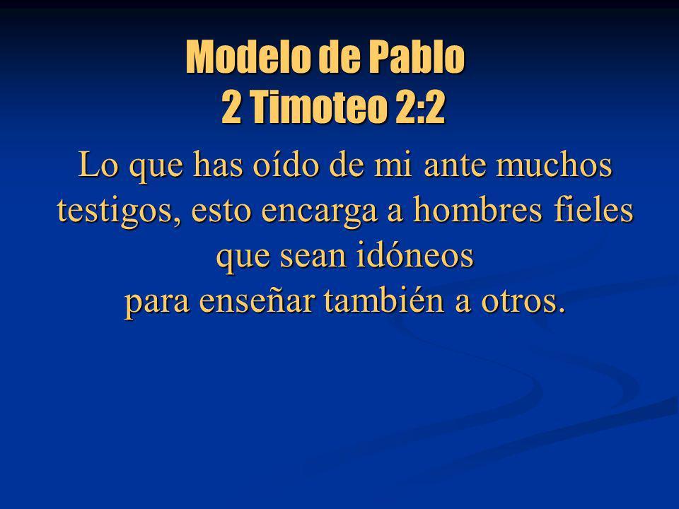 Modelo de Pablo Modelo de Pablo 2 Timoteo 2:2 2 Timoteo 2:2 Lo que has oído de mi ante muchos testigos, esto encarga a hombres fieles que sean idóneos