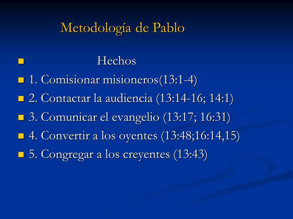 Hechos Hechos 1. Comisionar misioneros(13:1-4) 1. Comisionar misioneros(13:1-4) 2. Contactar la audiencia (13:14-16; 14:1) 2. Contactar la audiencia (