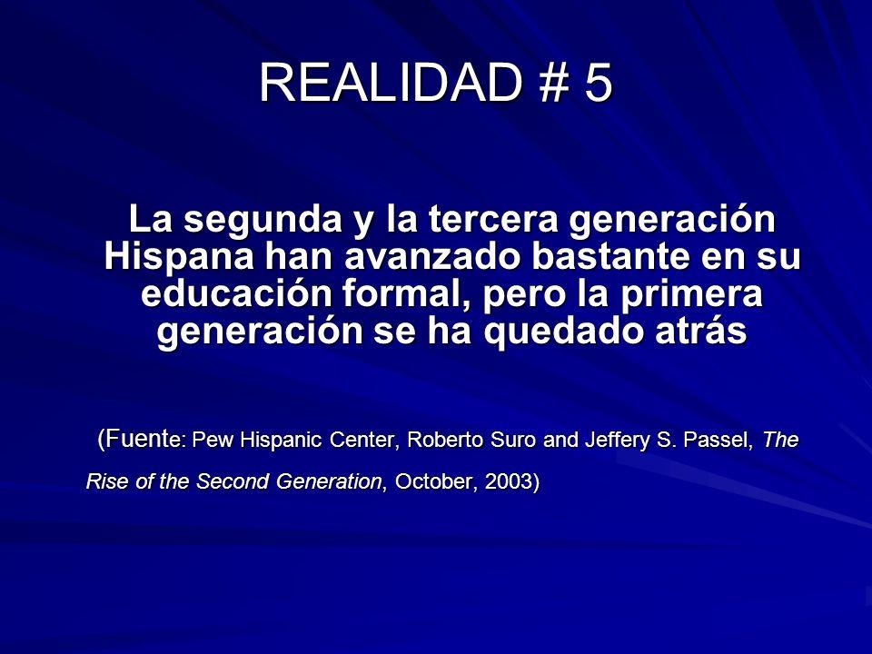 REALIDAD # 5 La segunda y la tercera generación Hispana han avanzado bastante en su educación formal, pero la primera generación se ha quedado atrás (Fuent e: Pew Hispanic Center, Roberto Suro and Jeffery S.