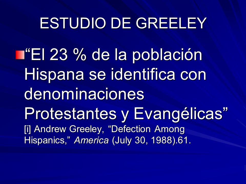 ESTUDIO DE GREELEY El 23 % de la población Hispana se identifica con denominaciones Protestantes y Evangélicas [i] Andrew Greeley, Defection Among Hispanics, America (July 30, 1988).61.El 23 % de la población Hispana se identifica con denominaciones Protestantes y Evangélicas [i] Andrew Greeley, Defection Among Hispanics, America (July 30, 1988).61.