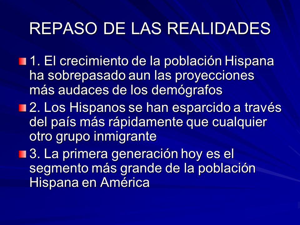 REPASO DE LAS REALIDADES 1. El crecimiento de la población Hispana ha sobrepasado aun las proyecciones más audaces de los demógrafos 2. Los Hispanos s