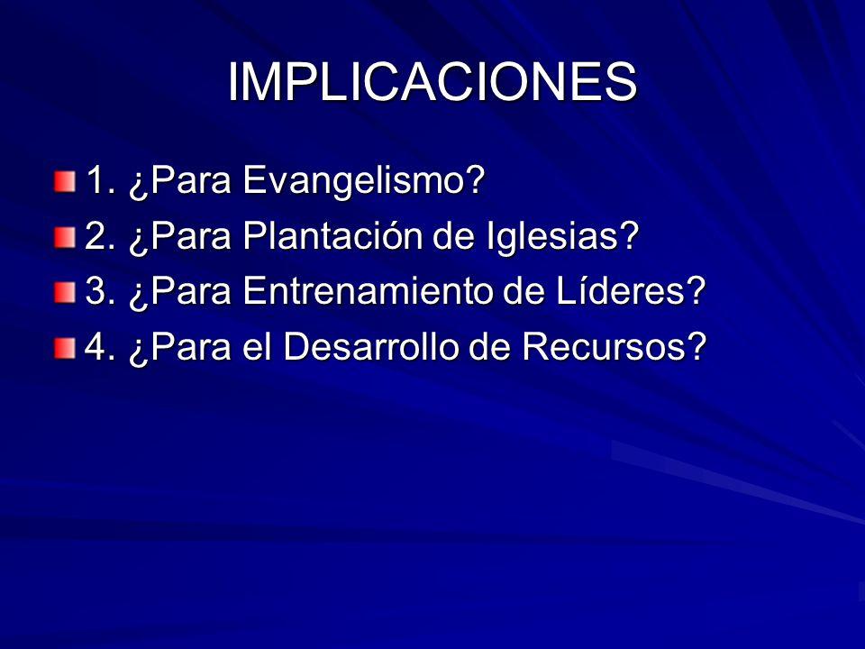 IMPLICACIONES 1. ¿Para Evangelismo? 2. ¿Para Plantación de Iglesias? 3. ¿Para Entrenamiento de Líderes? 4. ¿Para el Desarrollo de Recursos?
