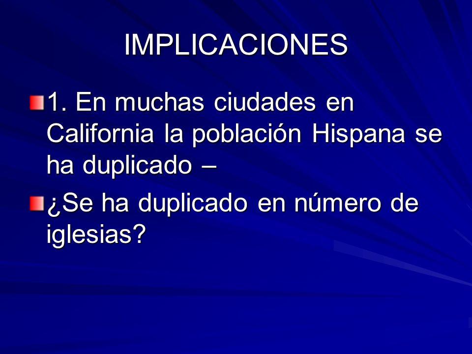 IMPLICACIONES 1. En muchas ciudades en California la población Hispana se ha duplicado – ¿Se ha duplicado en número de iglesias?
