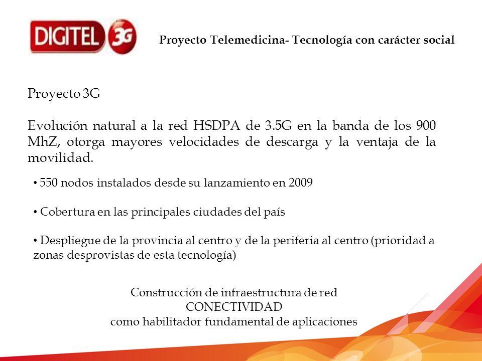 Proyecto Telemedicina- Tecnología con carácter social Proyecto 3G Evolución natural a la red HSDPA de 3.5G en la banda de los 900 MhZ, otorga mayores velocidades de descarga y la ventaja de la movilidad.