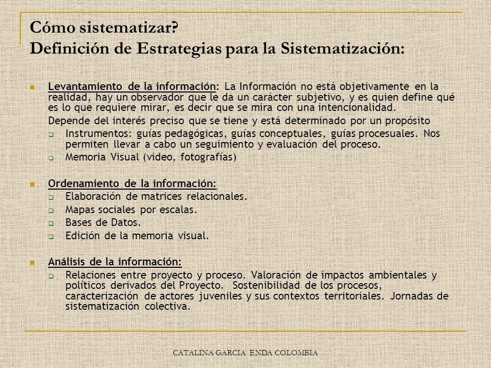 CATALINA GARCIA ENDA COLOMBIA Cómo sistematizar? Definición de Estrategias para la Sistematización: Levantamiento de la información: La Información no