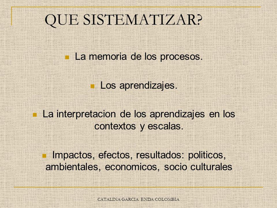 CATALINA GARCIA ENDA COLOMBIA QUE SISTEMATIZAR? La memoria de los procesos. Los aprendizajes. La interpretacion de los aprendizajes en los contextos y