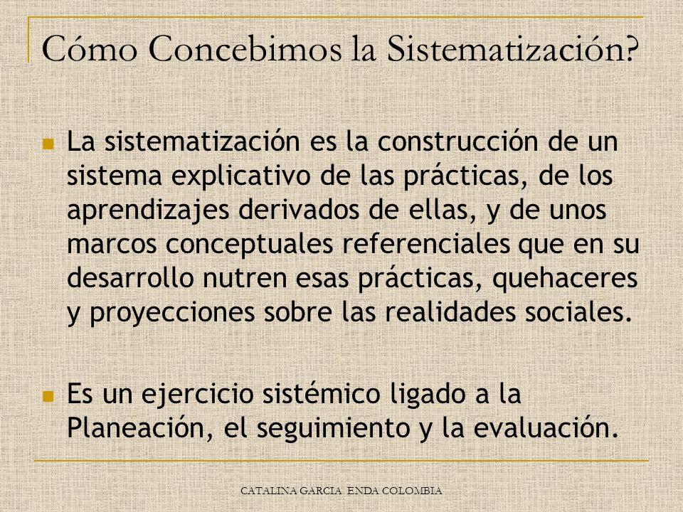 CATALINA GARCIA ENDA COLOMBIA Cómo Concebimos la Sistematización? La sistematización es la construcción de un sistema explicativo de las prácticas, de