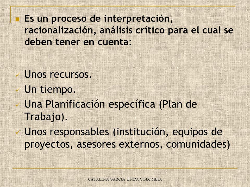 CATALINA GARCIA ENDA COLOMBIA Es un proceso de interpretación, racionalización, análisis crítico para el cual se deben tener en cuenta: Unos recursos.