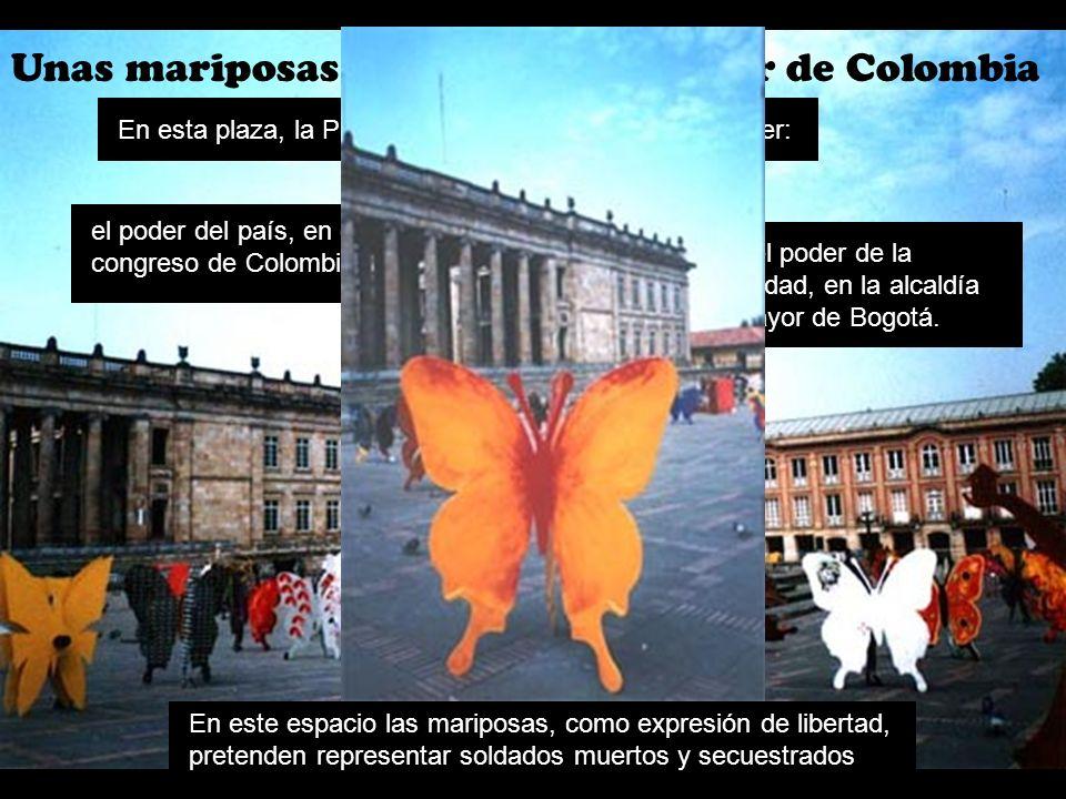 Unas mariposas políticas en el poder de Colombia En este espacio las mariposas, como expresión de libertad, pretenden representar soldados muertos y s