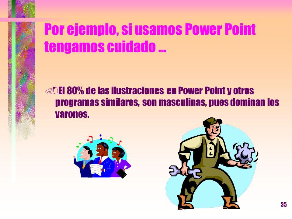 35 Por ejemplo, si usamos Power Point tengamos cuidado....El 80% de las ilustraciones en Power Point y otros programas similares, son masculinas, pues