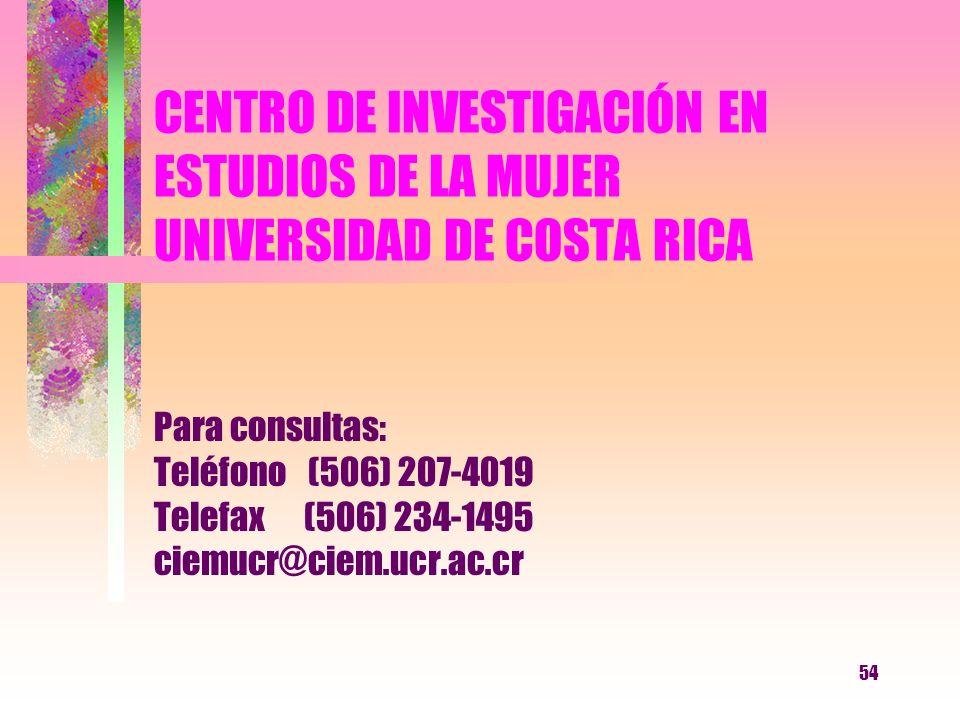 54 CENTRO DE INVESTIGACIÓN EN ESTUDIOS DE LA MUJER UNIVERSIDAD DE COSTA RICA Para consultas: Teléfono (506) 207-4019 Telefax (506) 234-1495 ciemucr@ci