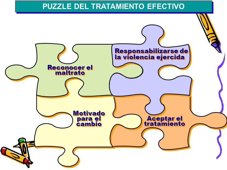 PUZZLE DEL TRATAMIENTO EFECTIVO Reconocer el maltrato Responsabilizarse de la violencia ejercida Motivado para el cambio Aceptar el tratamiento