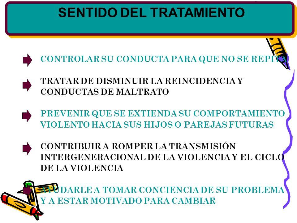 SENTIDO DEL TRATAMIENTO CONTROLAR SU CONDUCTA PARA QUE NO SE REPITA TRATAR DE DISMINUIR LA REINCIDENCIA Y CONDUCTAS DE MALTRATO PREVENIR QUE SE EXTIENDA SU COMPORTAMIENTO VIOLENTO HACIA SUS HIJOS O PAREJAS FUTURAS CONTRIBUIR A ROMPER LA TRANSMISIÓN INTERGENERACIONAL DE LA VIOLENCIA Y EL CICLO DE LA VIOLENCIA AYUDARLE A TOMAR CONCIENCIA DE SU PROBLEMA Y A ESTAR MOTIVADO PARA CAMBIAR