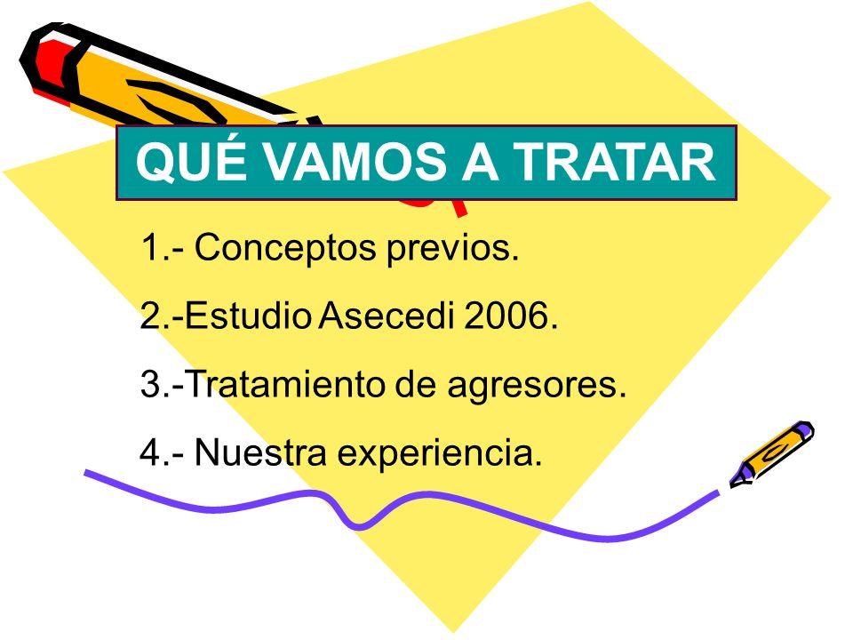 QUÉ VAMOS A TRATAR 1.- Conceptos previos. 2.-Estudio Asecedi 2006. 3.-Tratamiento de agresores. 4.- Nuestra experiencia.