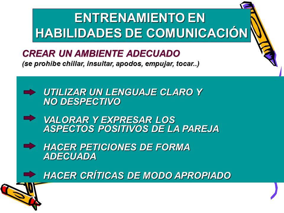 ENTRENAMIENTO EN HABILIDADES DE COMUNICACIÓN UTILIZAR UN LENGUAJE CLARO Y NO DESPECTIVO VALORAR Y EXPRESAR LOS ASPECTOS POSITIVOS DE LA PAREJA HACER PETICIONES DE FORMA ADECUADA HACER CRÍTICAS DE MODO APROPIADO CREAR UN AMBIENTE ADECUADO (se prohibe chillar, insultar, apodos, empujar, tocar..)
