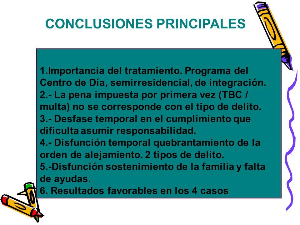 CONCLUSIONES PRINCIPALES 1.Importancia del tratamiento. Programa del Centro de Día, semirresidencial, de integración. 2.- La pena impuesta por primera