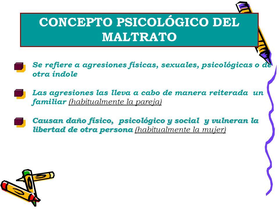 CONCEPTO PSICOLÓGICO DEL MALTRATO Se refiere a agresiones físicas, sexuales, psicológicas o de otra índole Las agresiones las lleva a cabo de manera r