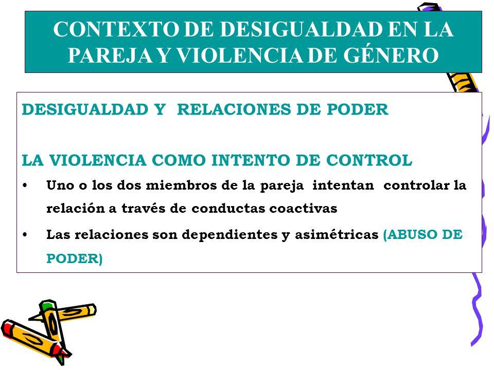 CONTEXTO DE DESIGUALDAD EN LA PAREJA Y VIOLENCIA DE GÉNERO DESIGUALDAD Y RELACIONES DE PODER LA VIOLENCIA COMO INTENTO DE CONTROL Uno o los dos miembros de la pareja intentan controlar la relación a través de conductas coactivas Las relaciones son dependientes y asimétricas (ABUSO DE PODER)