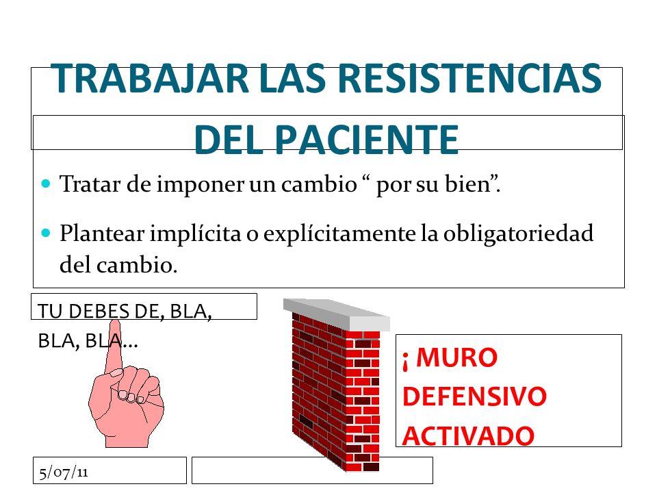 5/07/11 TRABAJAR LAS RESISTENCIAS DEL PACIENTE Tratar de imponer un cambio por su bien.