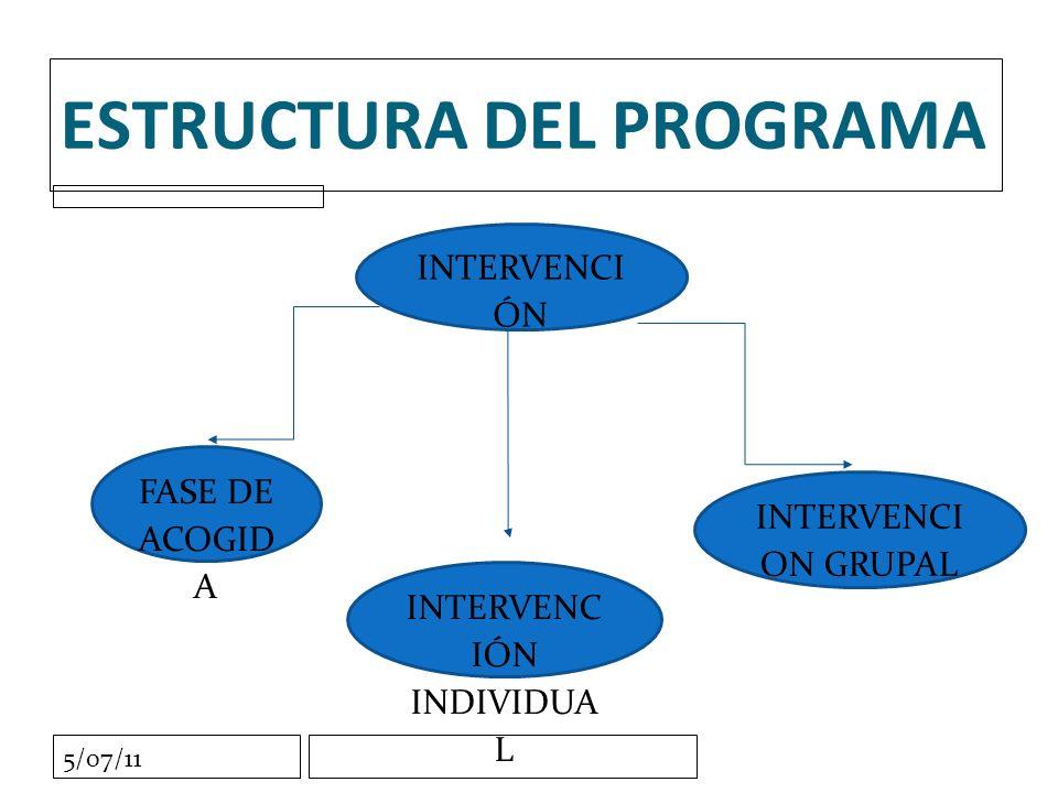 5/07/11 ESTRUCTURA DEL PROGRAMA INTERVENCI ÓN FASE DE ACOGID A INTERVENC IÓN INDIVIDUA L INTERVENCI ON GRUPAL