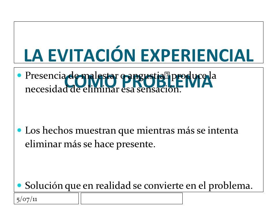 5/07/11 LA EVITACIÓN EXPERIENCIAL COMO PROBLEMA Presencia de malestar o angustia produce la necesidad de eliminar esa sensación.