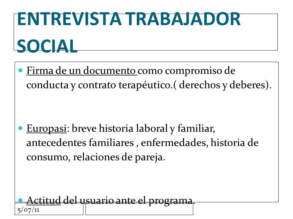 5/07/11 ENTREVISTA TRABAJADOR SOCIAL Firma de un documento como compromiso de conducta y contrato terapéutico.( derechos y deberes).