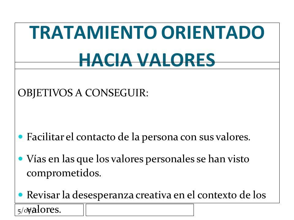 TRATAMIENTO ORIENTADO HACIA VALORES OBJETIVOS A CONSEGUIR: Facilitar el contacto de la persona con sus valores.