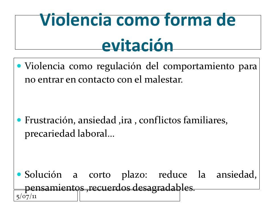 5/07/11 Violencia como forma de evitación Violencia como regulación del comportamiento para no entrar en contacto con el malestar.