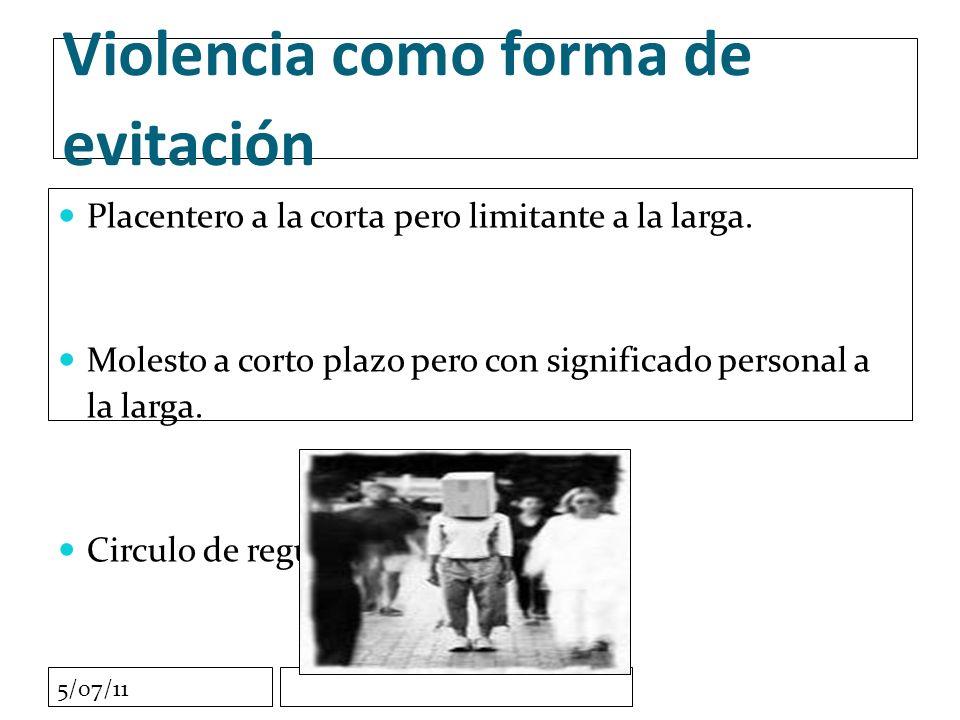 5/07/11 Violencia como forma de evitación Placentero a la corta pero limitante a la larga.