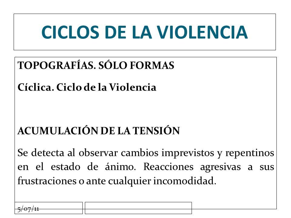 5/07/11 CICLOS DE LA VIOLENCIA TOPOGRAFÍAS. SÓLO FORMAS Cíclica.