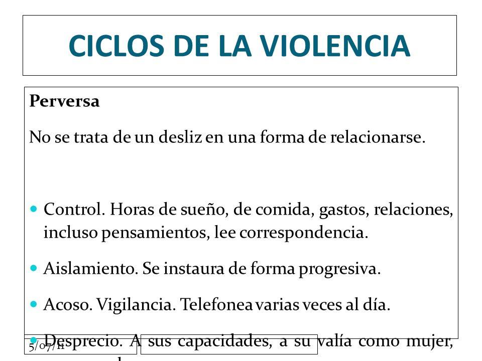 5/07/11 CICLOS DE LA VIOLENCIA Perversa No se trata de un desliz en una forma de relacionarse.