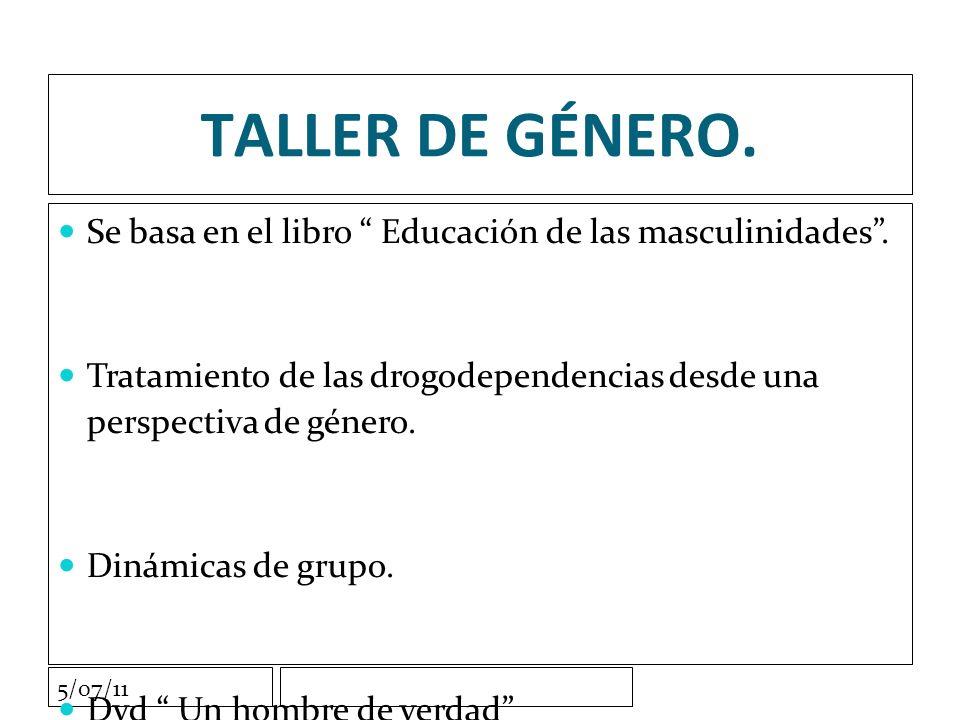 5/07/11 TALLER DE GÉNERO. Se basa en el libro Educación de las masculinidades.