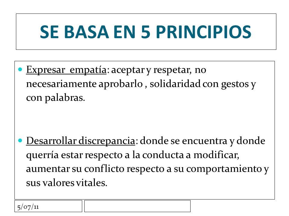 5/07/11 SE BASA EN 5 PRINCIPIOS Expresar empatía: aceptar y respetar, no necesariamente aprobarlo, solidaridad con gestos y con palabras.