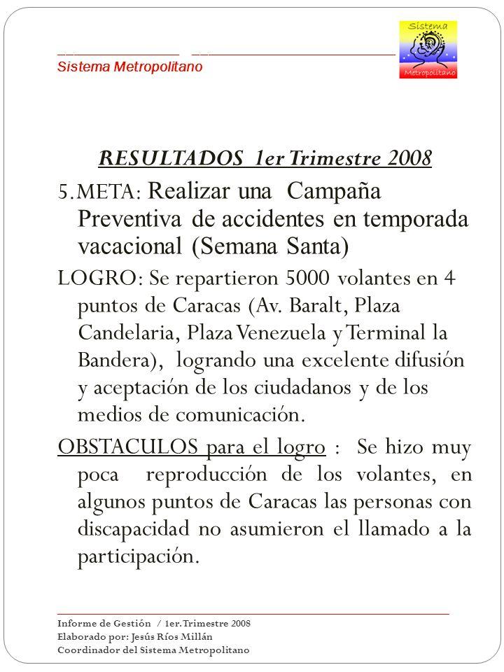 ___________________________________________ Sistema Metropolitano RESULTADOS 1er Trimestre 2008 5.META: Realizar una Campaña Preventiva de accidentes en temporada vacacional (Semana Santa) LOGRO: Se repartieron 5000 volantes en 4 puntos de Caracas (Av.