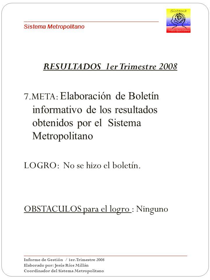 ___________________________________________ Sistema Metropolitano RESULTADOS 1er Trimestre 2008 7.META: Elaboración de Boletín informativo de los resultados obtenidos por el Sistema Metropolitano LOGRO: No se hizo el boletín.