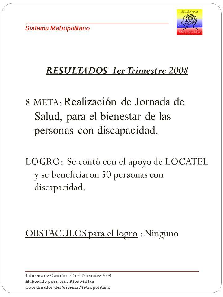 ___________________________________________ Sistema Metropolitano RESULTADOS 1er Trimestre 2008 8.META: Realización de Jornada de Salud, para el bienestar de las personas con discapacidad.