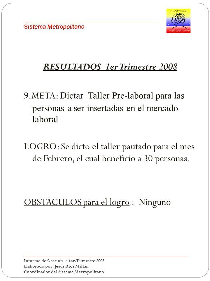 ___________________________________________ Sistema Metropolitano RESULTADOS 1er Trimestre 2008 9.META: Dictar Taller Pre-laboral para las personas a