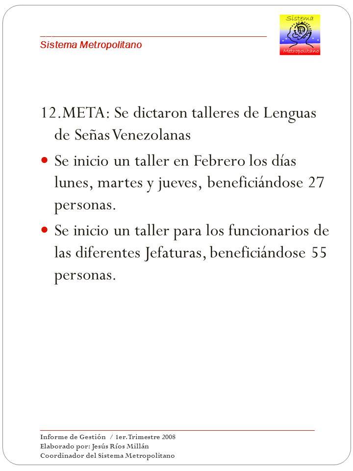 12.META: Se dictaron talleres de Lenguas de Señas Venezolanas Se inicio un taller en Febrero los días lunes, martes y jueves, beneficiándose 27 personas.