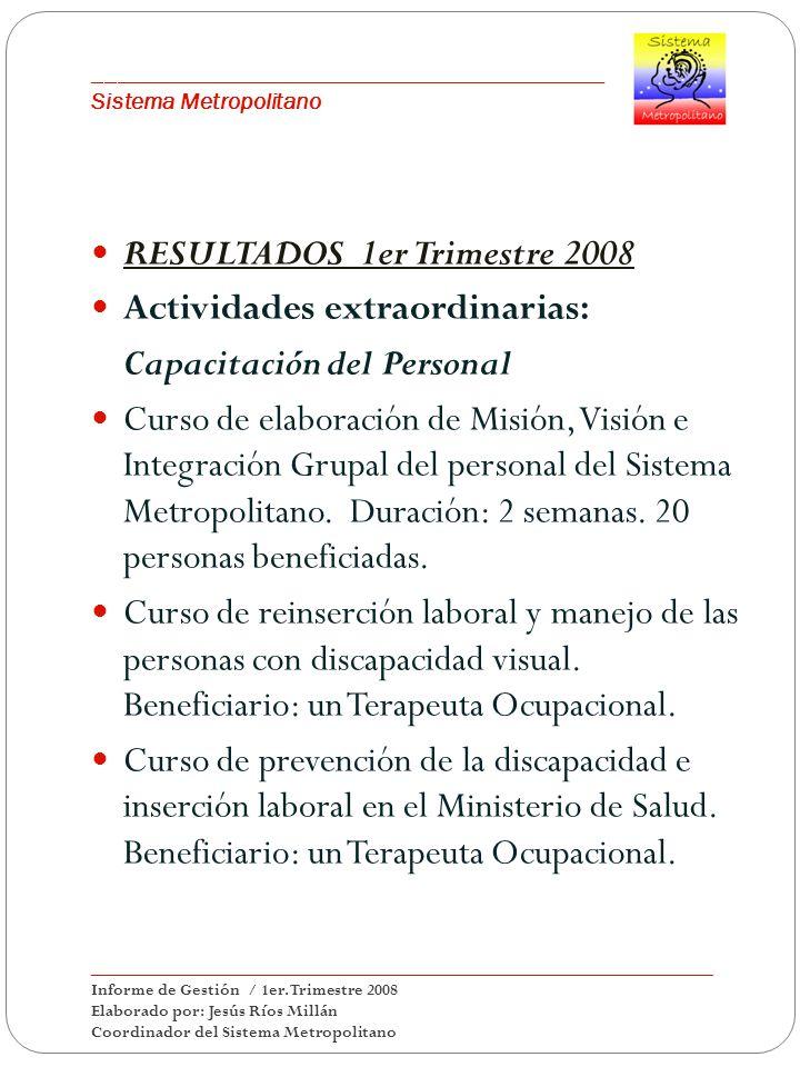 ___________________________________________ Sistema Metropolitano RESULTADOS 1er Trimestre 2008 Actividades extraordinarias: Capacitación del Personal Curso de elaboración de Misión, Visión e Integración Grupal del personal del Sistema Metropolitano.