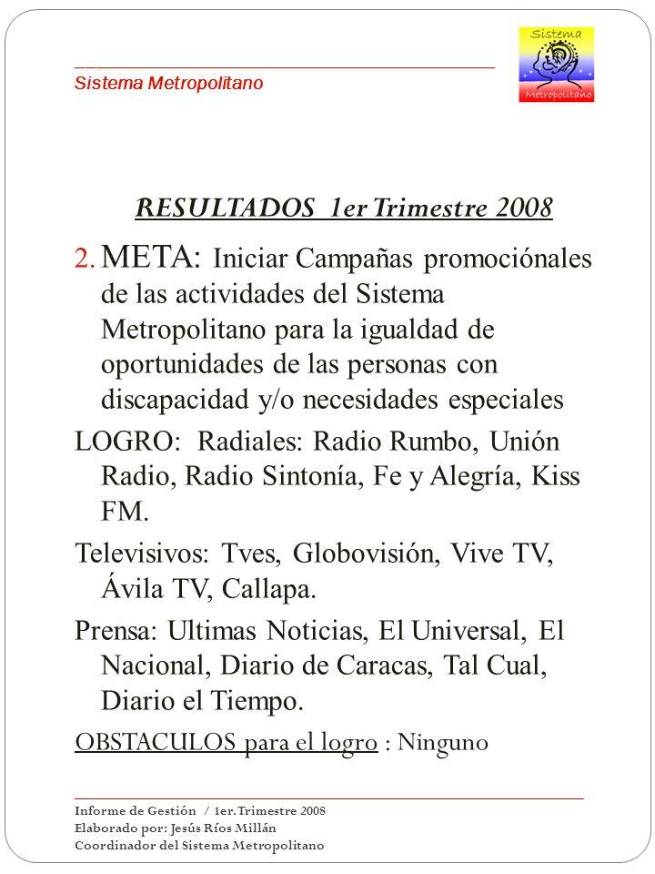 ___________________________________________ Sistema Metropolitano RESULTADOS 1er Trimestre 2008 2. META: Iniciar Campañas promociónales de las activid