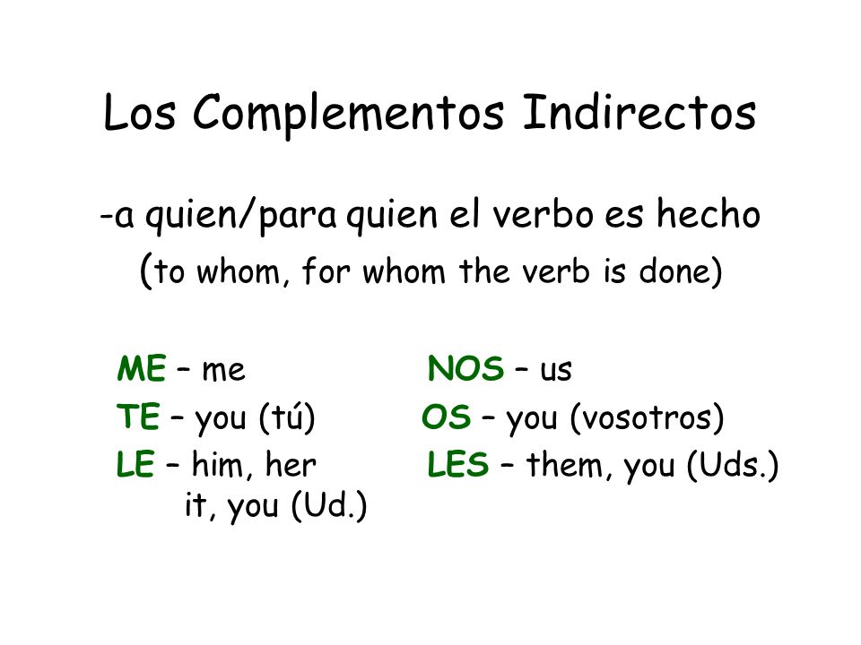Los Complementos Indirectos -a quien/para quien el verbo es hecho ( to whom, for whom the verb is done) ME – me NOS – us TE – you (tú) OS – you (vosotros) LE – him, her LES – them, you (Uds.) it, you (Ud.)