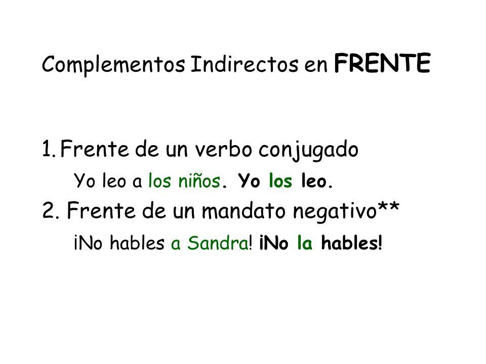 Complementos Indirectos en FRENTE 1.Frente de un verbo conjugado Yo leo a los niños.