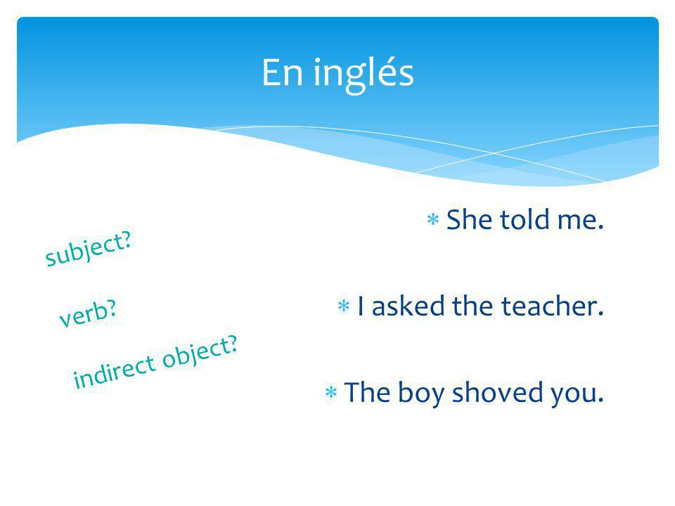 ME – meNOS – us TE – you (tú)OS – you (vosotros) LE – him, her, it, you (Ud.)LES – them, you (Uds.) Los complementos indirectos